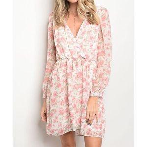 New pink floral faux wrap dress